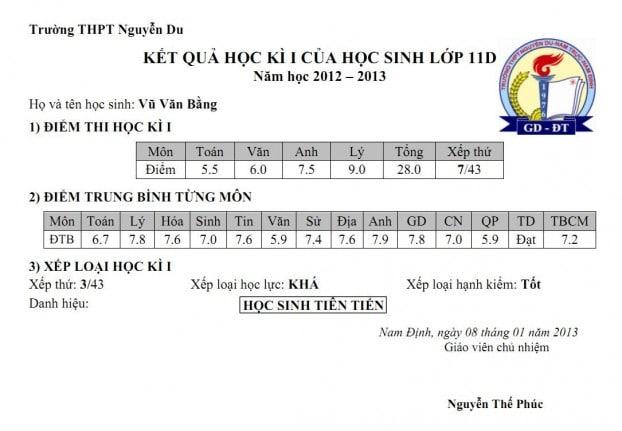 Một mẫu phiếu thông báo kết quả học tập HK1