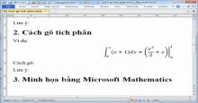 Cách gõ nguyên hàm và tích phân trong MS Word 2010