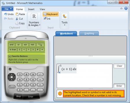 Gõ không đúng chuẩn, sai cú pháp thì phần mềm Microsoft Mathematics sẽ báo lỗi