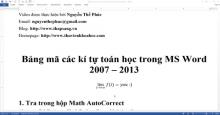 Bảng mã các kí tự toán học trong MS Word 2007 - 2013